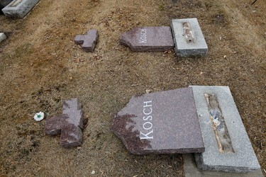 The Edmonton Police Service is investigating a overnight vandalism spree at St. Michael's Cemetery  in north end of Edmonton, Alberta on Thursday, Apr 10, 2014.  Perry Mah/ Edmonton Sun/ QMI Agency