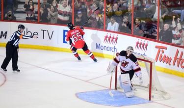 OTTAWA, Ont. (10/04/14) - Ottawa Senators play the New Jersey Devils on Thursday night's game. Erik Karlsson scores the only goal in the final shout out. Senators won 2-1.Sarah Taylor/Ottawa Sun/QMI Agency