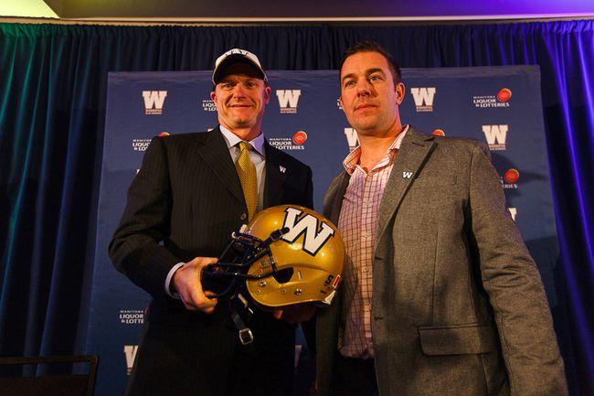 Winnipeg Blue Bombers coach Mike O'Shea and GM Kyle Walters