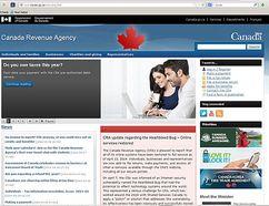 Canada Revenue Agency website. (SCREENSHOT)