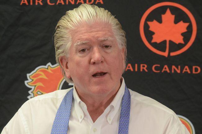 Brian Burke addresses the media Monday at the Saddledome. Photo by Stuart Dryden/Calgary Sun
