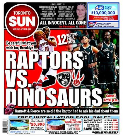 Raptors vs. Dinosaurs front page