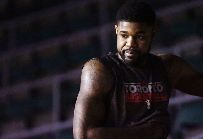 Amir Johnson at Raptors practice on April 20. (Craig Robertson, Toronto Sun)