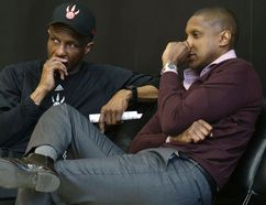 Raptors coach Dwane Casey (left) and GM Masai Ujiri (Craig Robertson, Toronto Sun)