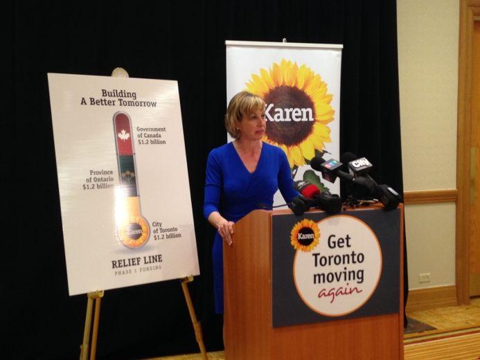 Karen Stintz unveils her transit funding plan on Tuesday. (DON PEAT/Toronto Sun)