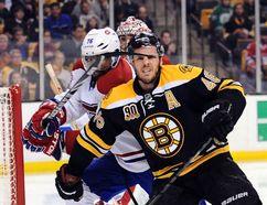 Montreal Canadiens defenceman P.K. Subban high sticks Boston Bruins centre David Krejci during Game 2 of their Eastern Conference semifinal series at TD Garden in Boston, May 3, 2014. (BOB DeCHIARA/USA Today)