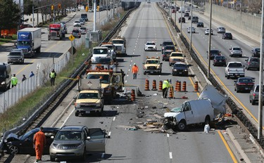 Fatal crash on QEW at Dixie Rd. Sunday, May 4, 2014. (Dave Thomas/Toronto Sun)