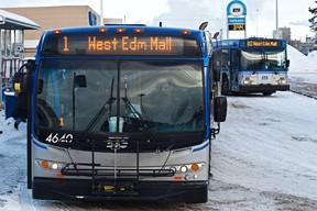 FILE: Buses are seen at Capilano Transit Centre in Edmonton, Alta., on Wednesday, Jan. 30, 2013. Codie McLachlan/Edmonton Sun
