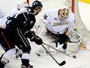 Anaheim Ducks rookie goalie John Gibson makes a save against the Los Angeles Kings. (Reuters)
