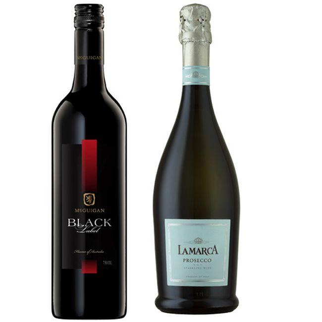 (Left) McGuigan Wines 2012 Black Label Shiraz and La Marca Prosecco.
