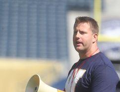 Former Winnipeg Blue Bomber, Doug Brown, ran a KidSport football camp at Investors Group Field. Saturday, May 17, 2014. Chris Procaylo/Winnipeg Sun/QMI Agency