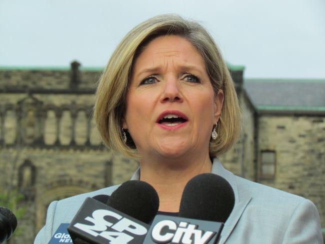 Andrea Horwath announces at Queen's Park Saturday a $60-million NDP plan to repurpose old schools. (ANTONELLA ARTUSO/Toronto Sun)