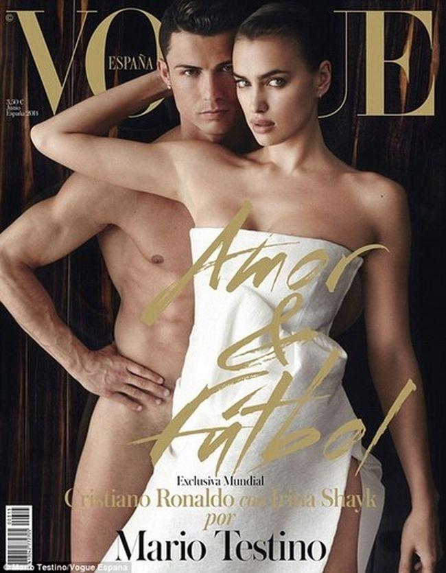 The cover of Spanish Vogue with Cristiano Ronaldo and Irina Shayk. (Vogue)