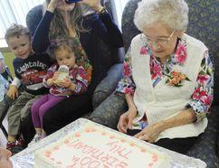 Tilley Pasek celebrated her 100th birthday at Delhi Long Term Care on May 16. (SARAH DOKTOR Delhi News-Record)