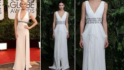 "<b>Red Carpet:</b> Margot Robbie at the Golden Globes<br><b>Bridal:</b> Naeem Khan, <A HREF=""http://www.thebay.com/webapp/wcs/stores/servlet/en/thebay/search/Kleinfeld"" TARGET=""newwindow""> Kleinfeld Hudson's Bay</a><br>(Jason Merritt/ AFP)<div id=""pd_rating_holder_7639870""></div> <script type=""text/javascript""> PDRTJS_settings_7639870 = { ""id"" : ""7639870"", ""unique_id"" : ""default"", ""title"" : """", ""permalink"" : """" }; </script> <script type=""text/javascript"" src=""http://i0.poll.fm/js/rating/rating.js""></script>"