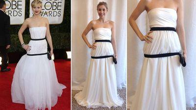 "<b>Red Carpet:</b> Jennifer Lawrence at the Golden Globes<br><b>Bridal:</b> Sakura Convertible Maxi Dress, <A HREF=""http://www.henkaa.com/"" TARGET=""newwindow""> Henkaa </a> and <A HREF=""http://www.thebay.com/webapp/wcs/stores/servlet/en/thebay/search/Kleinfeld"" TARGET=""newwindow""> Kleinfeld Hudson's Bay</a><br>(WENN.com)<div id=""pd_rating_holder_7639850""></div> <script type=""text/javascript""> PDRTJS_settings_7639850 = { ""id"" : ""7639850"", ""unique_id"" : ""default"", ""title"" : """", ""permalink"" : """" }; </script> <script type=""text/javascript"" src=""http://i0.poll.fm/js/rating/rating.js""></script>"