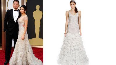 "<b>Red Carpet:</b> Jenna Dewan-Tatum at the Oscars<br><b>Bridal:</b> Lazaro, <A HREF=""http://www.thebay.com/webapp/wcs/stores/servlet/en/thebay/search/Kleinfeld"" TARGET=""newwindow""> Kleinfeld Hudson's Bay</a><br>(REUTERS/Lucas)<div id=""pd_rating_holder_7639845""></div> <script type=""text/javascript""> PDRTJS_settings_7639845 = { ""id"" : ""7639845"", ""unique_id"" : ""default"", ""title"" : """", ""permalink"" : """" }; </script> <script type=""text/javascript"" src=""http://i0.poll.fm/js/rating/rating.js""></script>"
