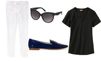 "<b>RETRO</b><bR>Joe Fresh silk tee, $39, <A HREF=""https://www.joefresh.com/"" TARGET=""newwindow"">JoeFresh.com</a><br>Smart Set skinny jeans, $55, <A HREF=""http://www.smartset.ca/on/demandware.store/Sites-Smartset_CA-Site/default/Default-Start"" TARGET=""newwindow"">smartset.ca</a><br>Zara loafer flats, $39.90, <A HREF=""http://www.zara.com/ca/""TARGET=""newwindow"">Zara.com</a><br>Topshop sunglasses, $30, <A HREF=""http://www.topshop.com/?geoip=home"" TARGET=""newwindow"">TopShop.com</a>"
