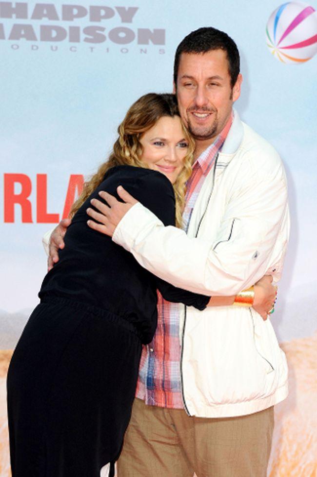 "Adam Sandler hugging Drew Barrymore at the Blended premiere. (<A HREF=""http://www.wenn.com"" TARGET=""newwindow"">WENN.COM</a>)"