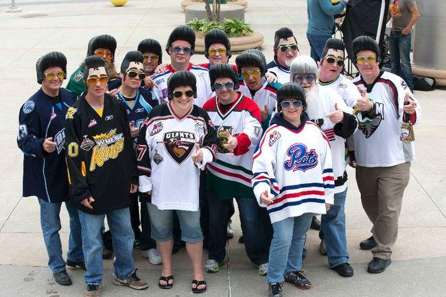The Junior Hockey Junkies sport Elvis Presley costumes at the Memorial Cup in London, Ont. (DEREK RUTTAN, The London Free Press)