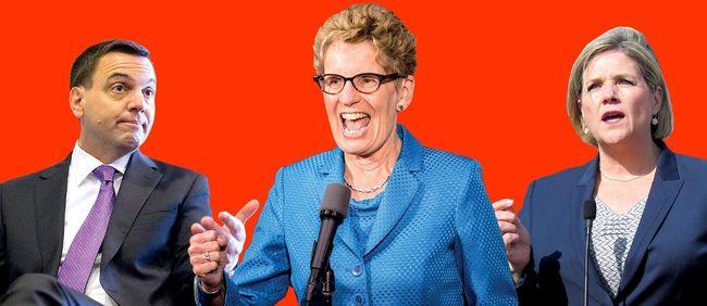 PC Leader Tim Hudak, Liberal Premier Kathleen Wynne and NDP Leader Andrea Horwath (Toronto Sun Graphics)