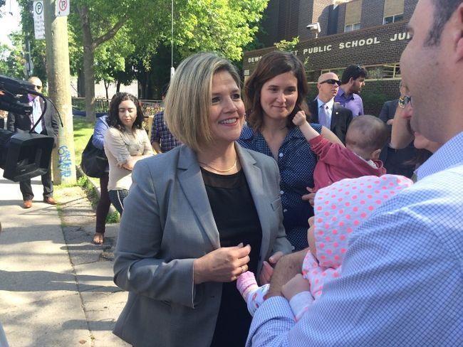 NDP leader Andrea Horwath speaks outside Dewson Street Junior Public School on May 30. (MARYAM SHAH/Toronto Sun)