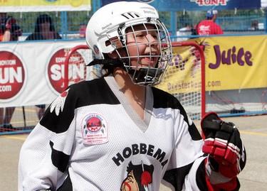 Maskwacis Lady Hawks' Eliyah Raine, 12, celebrates a win over the Slap Shots during the Hockey Night in Canada Play On! 4 On 4 Tournament at West Edmonton Mall, in Edmonton Alta., on Sunday June 1, 2014. David Bloom/Edmonton Sun/QMI Agency