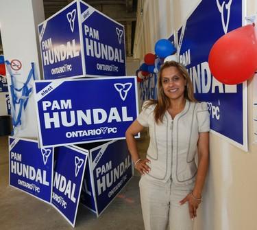 Brampton-Springdale PC candidate Pam Hundal inside her campaign office on Wednesday, June 11, 2014. (MICHAEL PEAKE/Toronto Sun)