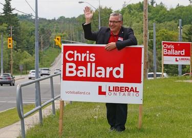 Newmarket-Aurora Liberal candidate Chris Ballard outside his campaign office on Tuesday, June 10, 2014. (MICHAEL PEAKE/Toronto Sun)