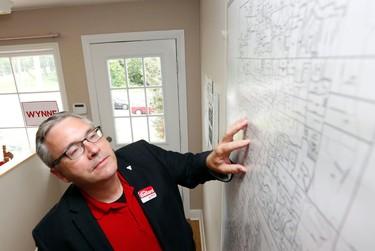 Newmarket-Aurora Liberal candidate Chris Ballard inside his campaign office on Tuesday, June 10, 2014. (MICHAEL PEAKE/Toronto Sun)