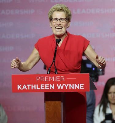 Liberal Leader Kathleen Wynne addresses the crowd after winning a majority re-election on Thursday, June 12, 2014. (CRAIG ROBERTSON/Toronto Sun)