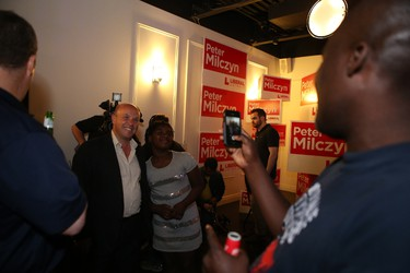 Liberal candidate Peter Milczyn celebrates at the eZone in Etobicoke after winning his riding of Etobicoke-Lakeshore on Thursday, June 12, 2014. (JACK BOLAND/Toronto Sun)