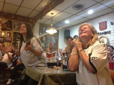 German fans celebrate at the German Club on Charles Street in Winnipeg on June 16, 2014. Germany beat Portugal 4-0 in World Cup action in Brazil. (DAVID LARKINS/WINNIPEG SUN/QMI AGENCY)