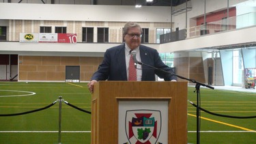 The ribbon was cut on the University of Winnipeg's $40-million United Health and RecPlex June 17, 2014. University president Lloyd Axworthy spoke at the event. (JIM BENDER/Winnipeg Sun)