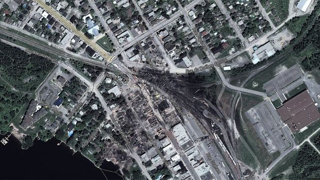 Google satellite image view of Lac Megantic, Que. (Google)