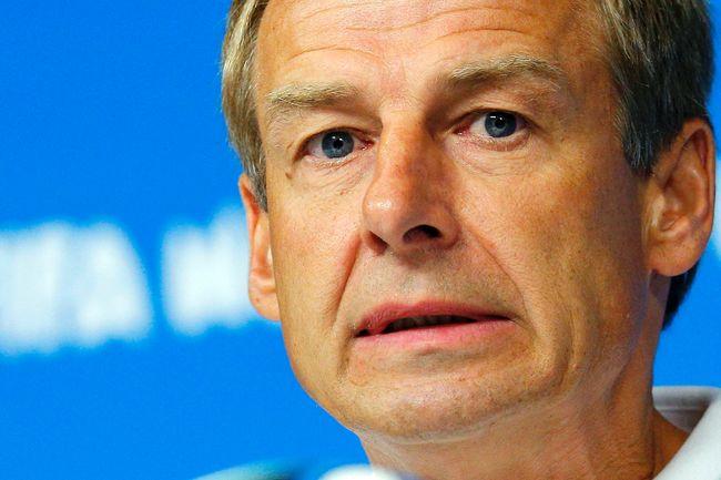 U.S. coach Juergen Klinsmann speaks to the media at Pernambuco Arena in Recife, Brazil, June 25, 2014. (BRIAN SNYDER/Reuters)