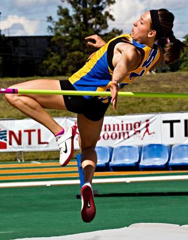 Saskatoon's Lauren Taylor competes in the women's high jump open during the Edmonton International Track Classic Open at Foote Field in Edmonton, Alta., on Saturday, July 5, 2014. Codie McLachlan/Edmonton Sun/QMI Agency