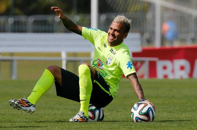 Brazil's Daniel Alves attends a training session in Teresopolis near Rio de Janeiro on Monday, July 7, 2014. (Marcelo Regua/Reuters)