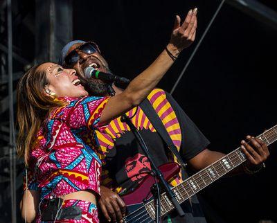 Elizabeth Sun and Thomas Gobena of Gogol Bordello performing at Bluesfest in Ottawa on Thursday July 10, 2014. Errol McGihon/Ottawa Sun/QMI Agency