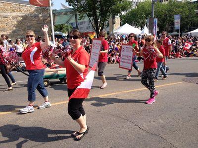The Kinette Club of Edmonton march their way through the 2014 K-Days parade in downtown Edmonton. K-Days runs from July 18 to 27, 2014. Ian Kucerak/Edmonton Sun/QMI Agency