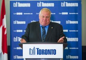 Toronto Mayor Rob Ford during a presser at City Hall on Thursday July 17, 2014. (Ernest Doroszuk/Toronto Sun)