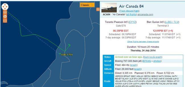 Flight tracking website FlightAware.com shows an Air Canada plane had circled the airport before landing. (FlightAware.com screengrab)