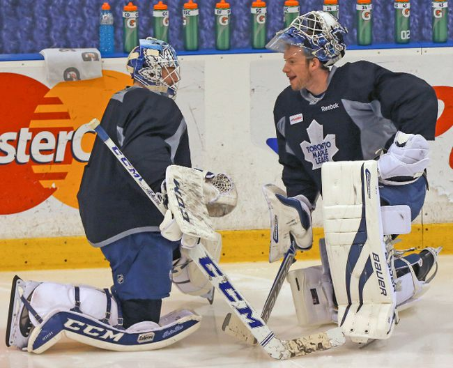 Leafs goalies Jonathan Bernier and James Reimer will make a combined $5.7 million this season — less than Dion Phaneuf. (DAVE THOMAS/Toronto Sun)