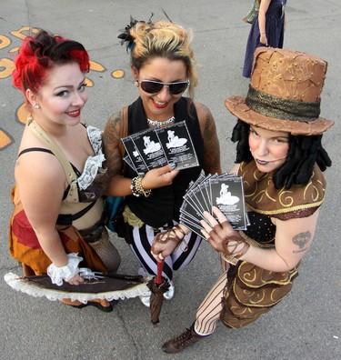 Cast members from, A Steampunk Burlesque , take part in the 2014 Edmonton International Fringe Festival kick-off parade in Old Strathcona. Let the Fringe plays begin! For full coverage go to www.EdmontonSun.com/Festivals Hugo Sanchez/Edmonton Sun/QMI Agency