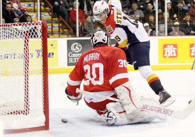 Erie Otters forward Dylan Strome scores on Soo Greyhound goaltender Matt Murray during second-period action April 2, 2014 at the Essar Centre. (JEFFREY OUGLER/SAULT STAR/QMI AGENCY)