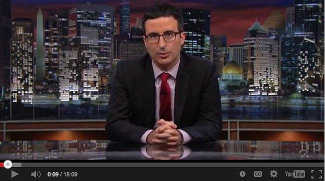 """Last Week Tonight"" host John Oliver talks about Ferguson, Missouri shooting. (YOUTUBE SCREENSHOT)"
