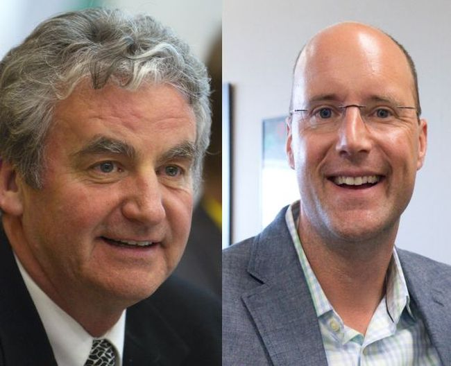 Mayoral candidates Joe Swan and Matt Brown (File photos)