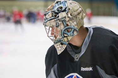OKC Barons goaltender Ty Rimmer takes part in the Perry Pearn's 3 vs. 3 Hockey Camp at K of C Twin Arenas in Edmonton, Alta., on Thursday, Aug. 21, 2014. Ian Kucerak/Edmonton Sun/ QMI Agency