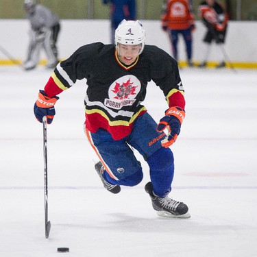 Edmonton Oilers forward Taylor Hall takes part in the Perry Pearn's 3 vs. 3 Hockey Camp at K of C Twin Arenas in Edmonton, Alta., on Thursday, Aug. 21, 2014. Ian Kucerak/Edmonton Sun/ QMI Agency