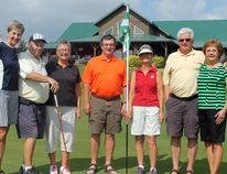 (Left)Team Manitoba Golf Manager Lois Dudgeon with golf competitors Dave & Geri Korotash, Phil Burton, Mabel Taylor and Kas & Glenda Holod. (ANDREW PRUDEN/Morden Times)